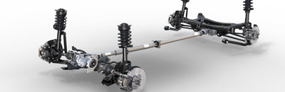 MacPherson strut front and independent rear suspensions for refined handling